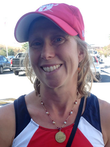 "Laurel in her ""new"" Antique Rowing Medal (1930) with rosebud pearls and rubies, after racing at the Wine Country Rowing Classic in Petaluma, California"